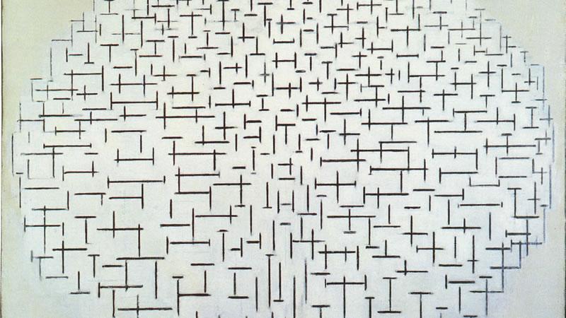 Schilderij Piet Mondriaan - Serie Pier en Oceaan (fragment)